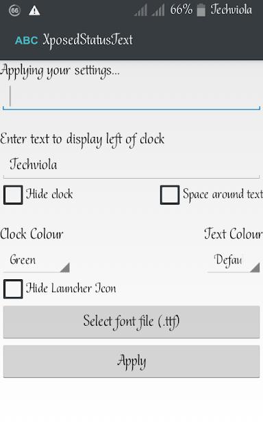 set up Xposed Statusbar text