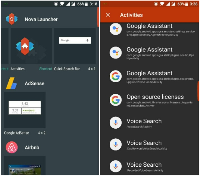 launch Google Assistant activities in Nova launcher