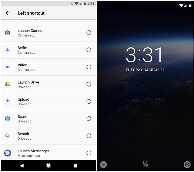 Android O custom lock screen shortcut