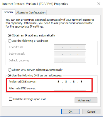 Change Default DNS to Google DNS
