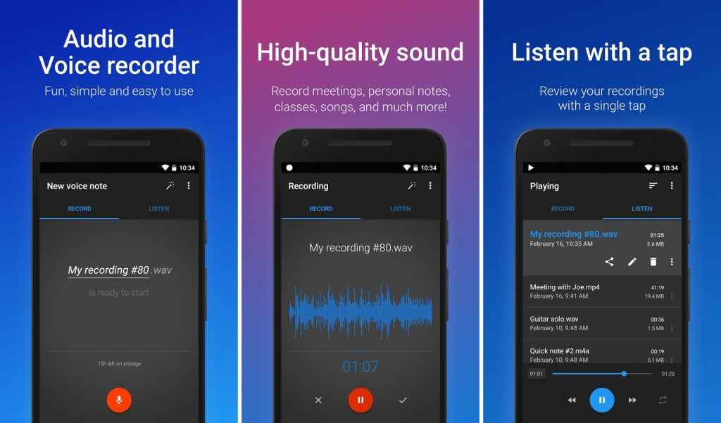 Easy Voice Recorder  User Interface
