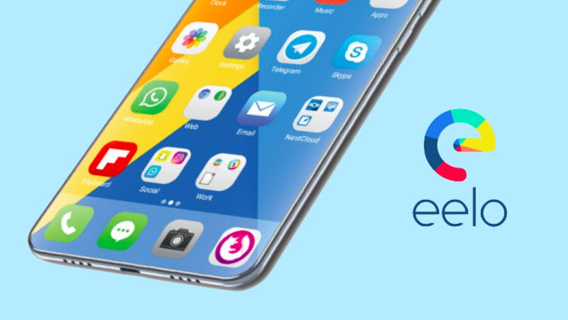 A smartphone along with Eelo and its logo