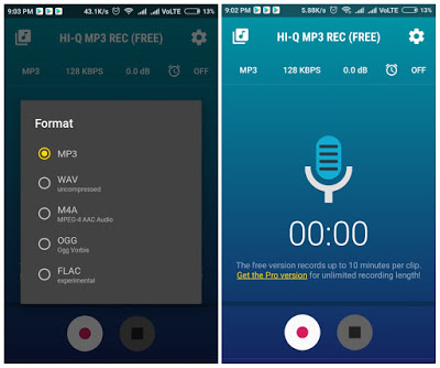 Hi-Q MP3 Voice Recorder  User Interface