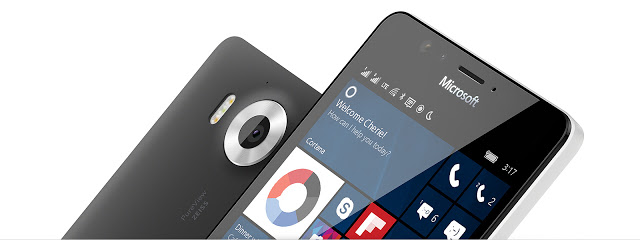 Front and back view of a Microsoft's windows 10 mobile device