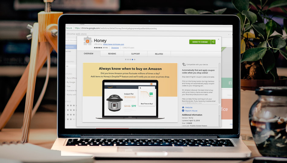 honey chrome extension on a macbook chrome