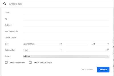 gmail new features interface search options
