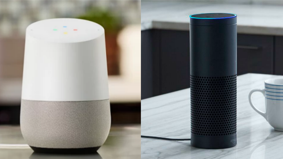 Google Home and Amazon Echo in different pictures