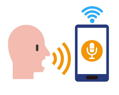Man speaking into an alexa app depicting voice recognition