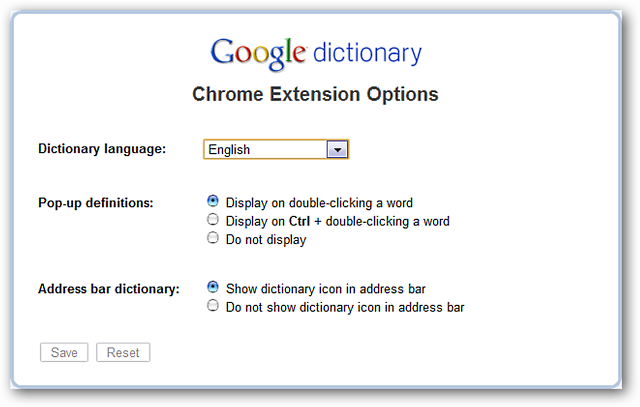 Screen capture of Google dictionary