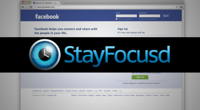 Logo of stay focused with a facebook screen capture at the background