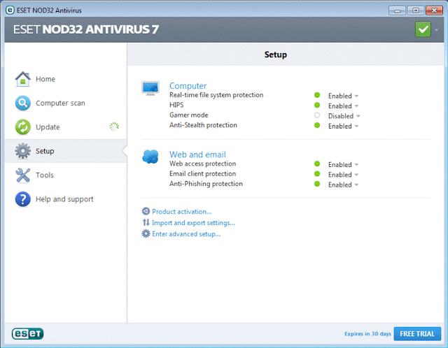 eset nod32 antivirus screenshot in top 5 antivirus software