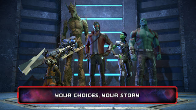 Guardians standing in the order rocket, Groot, Starlord, Gamora, Drax(From left to right), along with their weapons