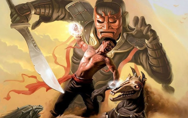 Masked guy holding sword, Another guy with magical powers and a magical horse with skull without skin