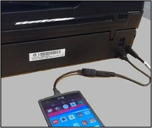 Printer connected with Android device using USB OTG.